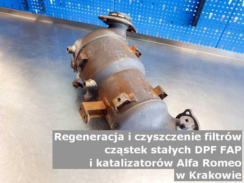 Płukany katalizator utleniający marki Alfa Romeo, w warsztacie na stole, w Krakowie.