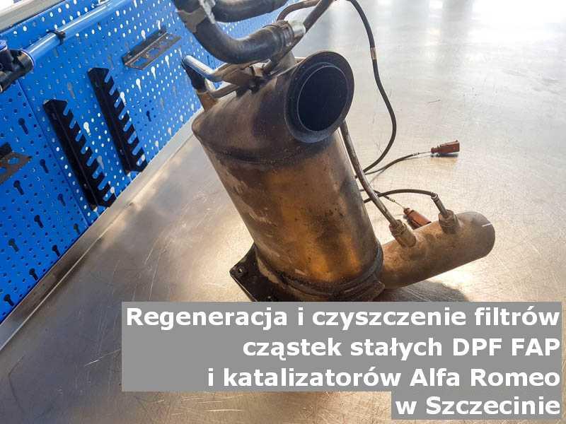 Naprawiony filtr cząstek stałych GPF marki Alfa Romeo, w specjalistycznej pracowni, w Szczecinie.