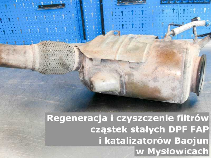 Umyty filtr cząstek stałych GPF marki Baojun, w laboratorium, w Mysłowicach.