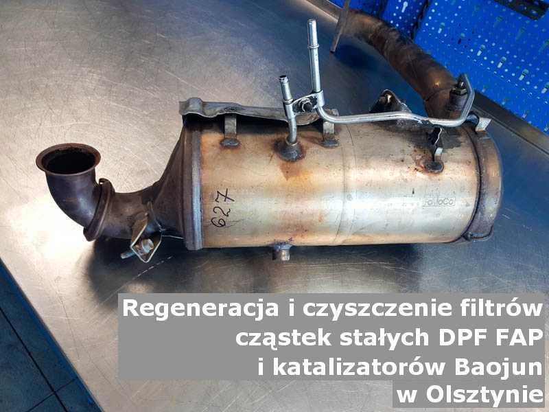 Wyczyszczony filtr cząstek stałych FAP marki Baojun, w pracowni regeneracji, w Olsztynie.