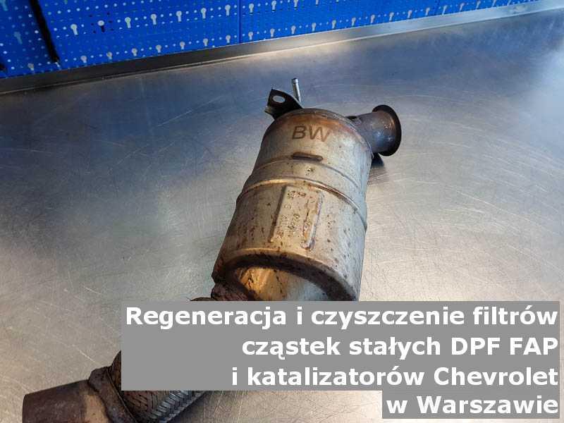 Wyczyszczony filtr cząstek stałych DPF marki Chevrolet, w laboratorium, w Warszawie.