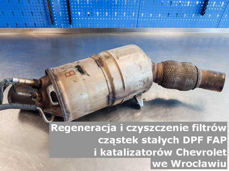 Czyszczony filtr cząstek stałych FAP marki Chevrolet, w warsztatowym laboratorium, w Wrocławiu.