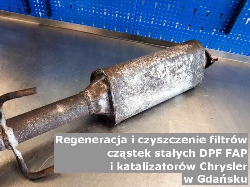 Zregenerowany filtr cząstek stałych GPF marki Chrysler, w pracowni laboratoryjnej, w Gdańsku.