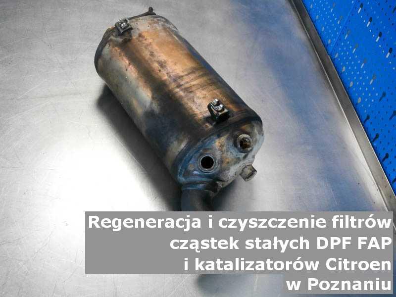 Oczyszczony filtr FAP marki Citroen, w pracowni regeneracji na stole, w Poznaniu.