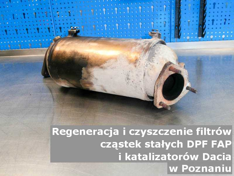 Regenerowany filtr cząstek stałych DPF/FAP marki Dacia, w pracowni regeneracji, w Poznaniu.