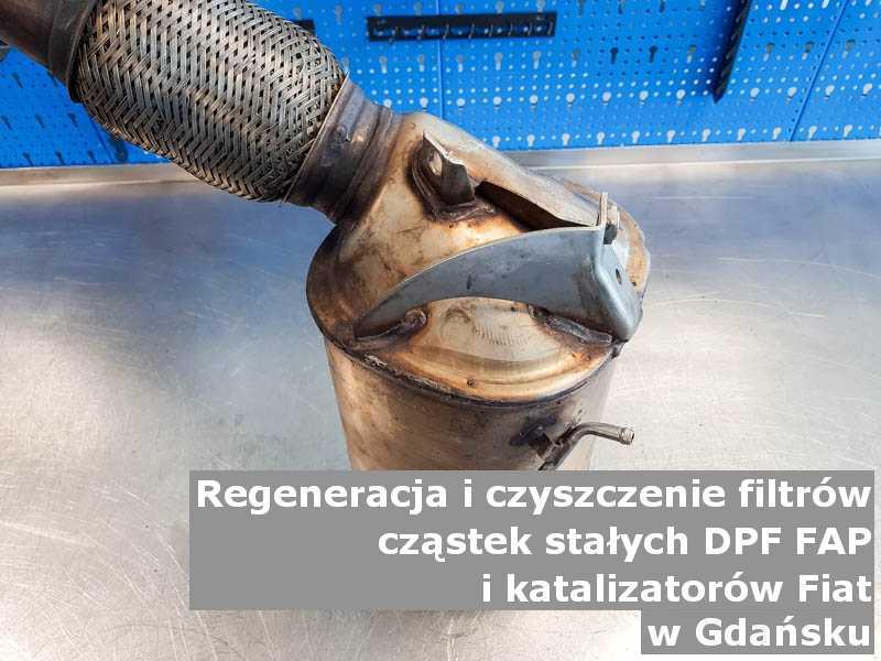 Wypłukany filtr cząstek stałych DPF/FAP marki Fiat, na stole, w Gdańsku.