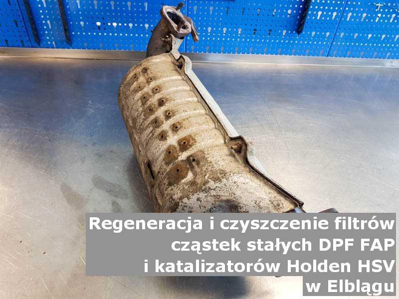 Umyty filtr cząstek stałych DPF/FAP marki Holden (HSV), w pracowni, w Elblągu.