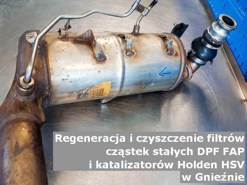 Zregenerowany filtr cząstek stałych DPF/FAP marki Holden (HSV), w warsztatowym laboratorium, w Gnieznie.