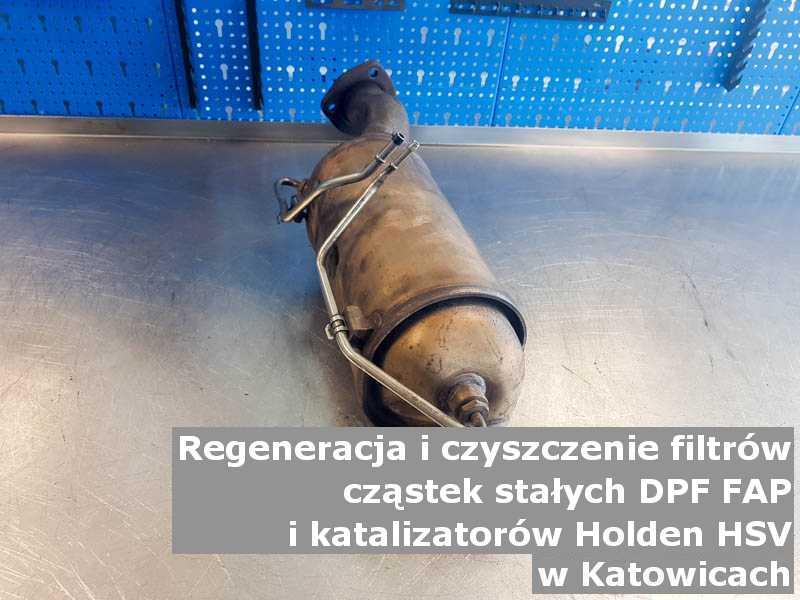 Wyczyszczony filtr cząstek stałych marki Holden (HSV), w laboratorium, w Katowicach.