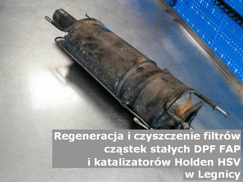 Wypłukany filtr cząstek stałych DPF marki Holden (HSV), w warsztatowym laboratorium, w Legnicy.