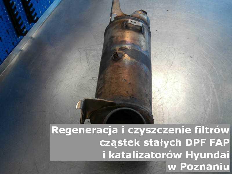 Wypłukany filtr cząstek stałych DPF marki Hyundai, na stole, w Poznaniu.