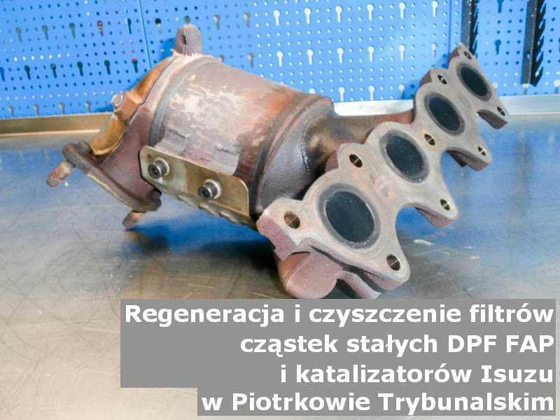 Czyszczony filtr DPF marki Isuzu, w specjalistycznej pracowni, w Piotrkowie Trybunalskim.