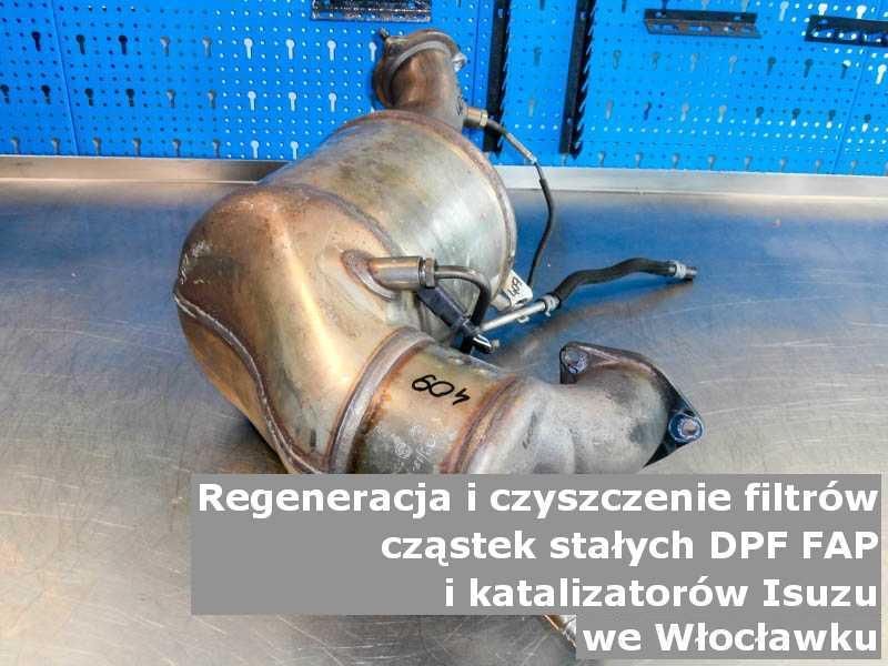 Czyszczony katalizator samochodowy marki Isuzu, w warsztatowym laboratorium, w Włocławku.