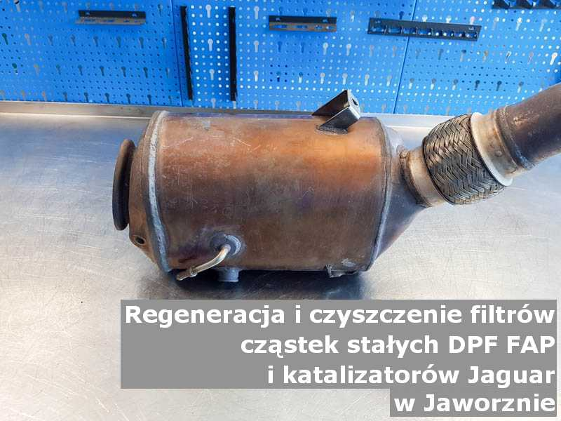Czyszczony filtr cząstek stałych FAP marki Jaguar, w laboratorium, w Jaworznie.