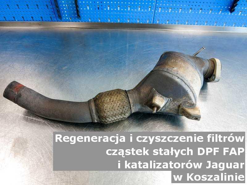 Wypalony katalizator SCR marki Jaguar, na stole, w Koszalinie.