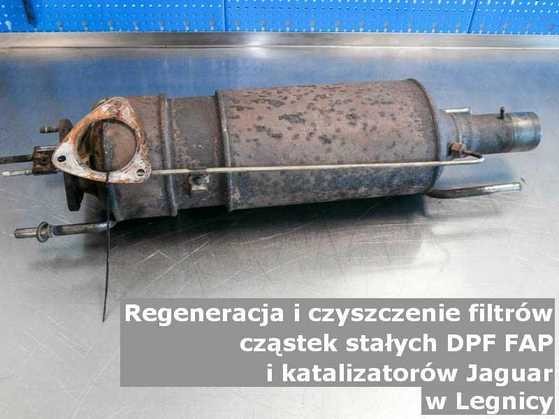 Płukany filtr DPF marki Jaguar, w pracowni, w Legnicy.