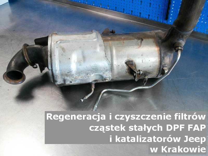 Płukany filtr cząstek stałych DPF/FAP marki Jeep, w pracowni, w Krakowie.