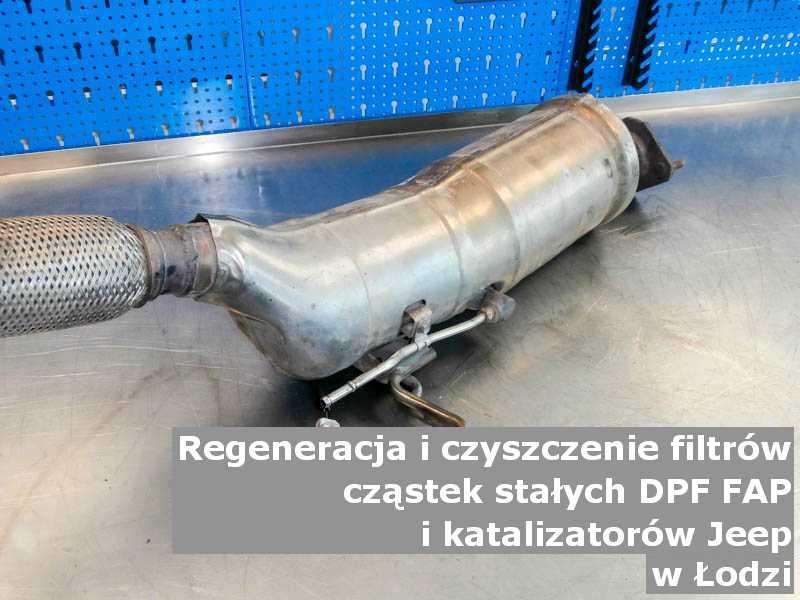 Oczyszczony filtr cząstek stałych marki Jeep, w warsztatowym laboratorium, w Łodzi.