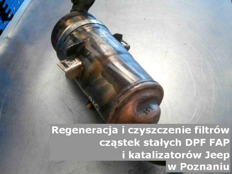 Regenerowany filtr marki Jeep, w pracowni regeneracji, w Poznaniu.