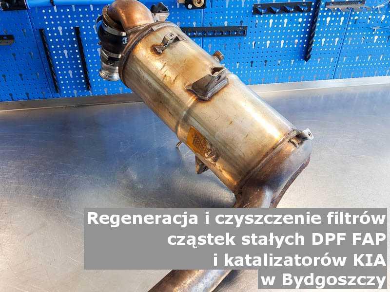 Wypalany filtr DPF marki Kia, w pracowni, w Bydgoszczy.