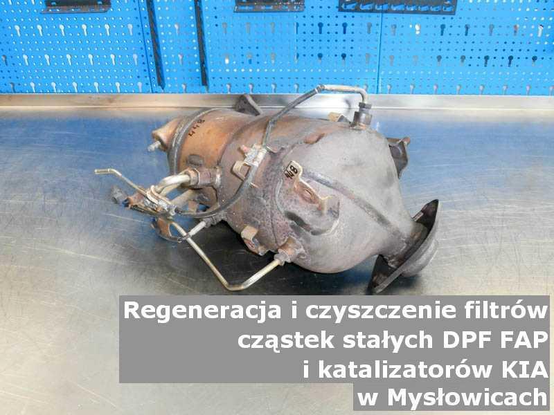 Oczyszczony filtr cząstek stałych marki Kia, w warsztacie, w Mysłowicach.
