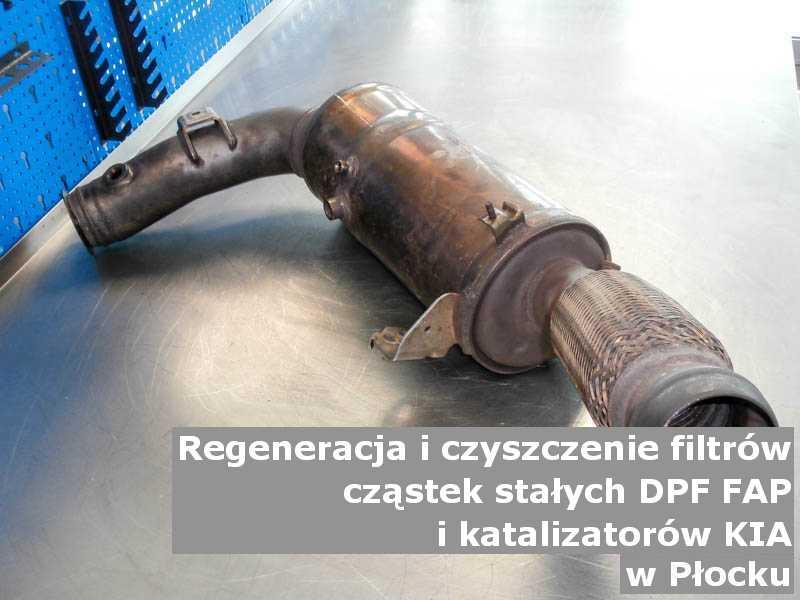 Czyszczony filtr cząstek stałych marki Kia, w pracowni, w Płocku.
