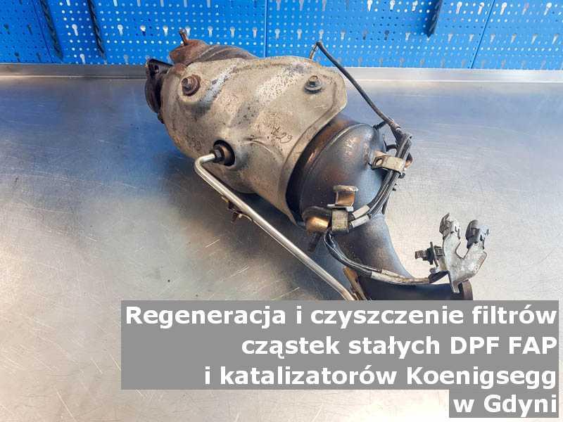 Regenerowany filtr cząstek stałych marki Koenigsegg, w specjalistycznej pracowni, w Gdyni.