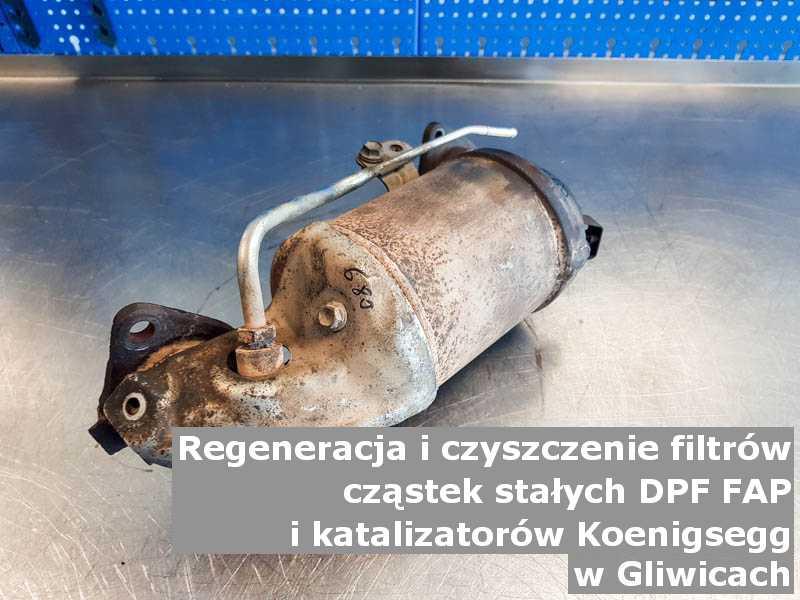 Wypłukany filtr cząstek stałych DPF marki Koenigsegg, w pracowni regeneracji, w Gliwicach.