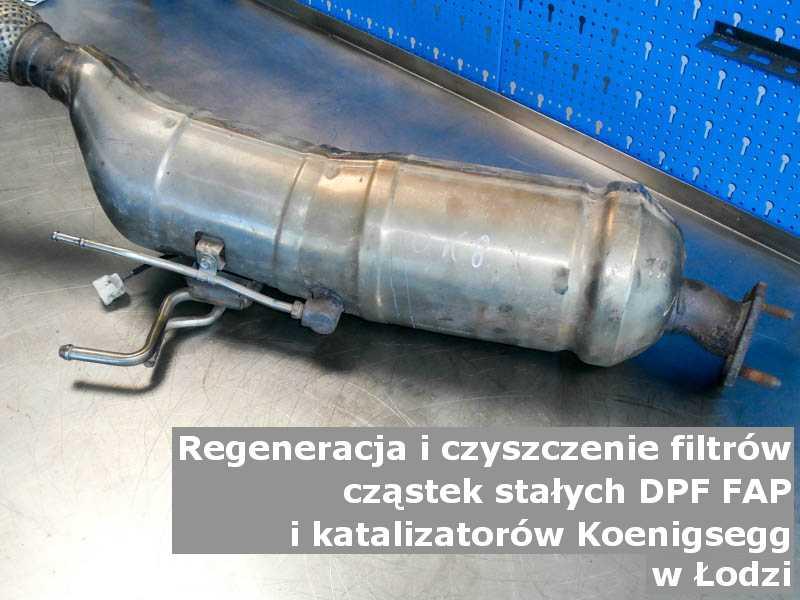 Wyczyszczony filtr cząstek stałych DPF/FAP marki Koenigsegg, na stole, w Łodzi.