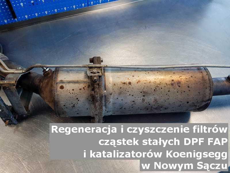 Wyczyszczony filtr DPF marki Koenigsegg, w pracowni regeneracji, w Nowym Sączu.