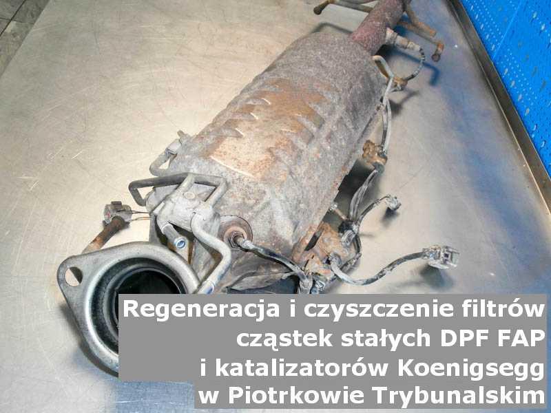 Wypalony katalizator utleniający marki Koenigsegg, w laboratorium, w Piotrkowie Trybunalskim.