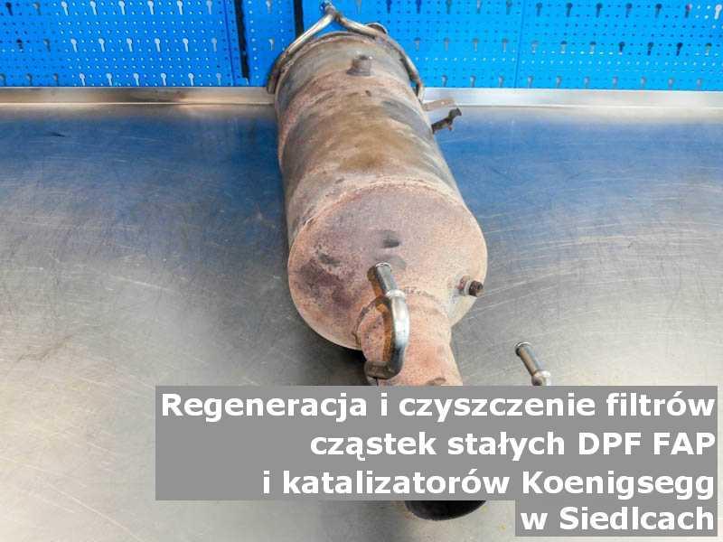 Naprawiany filtr FAP marki Koenigsegg, w warsztatowym laboratorium, w Siedlcach.