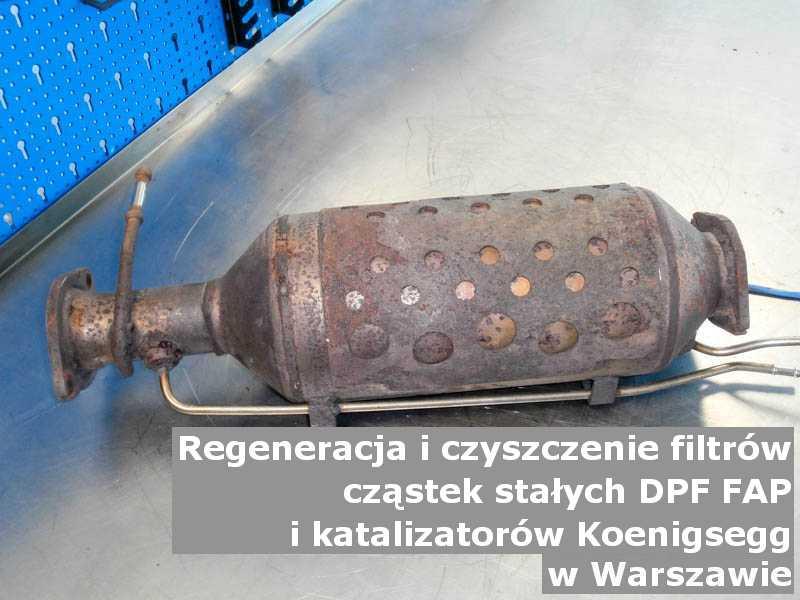 Wypłukany filtr marki Koenigsegg, w pracowni, w Warszawie.