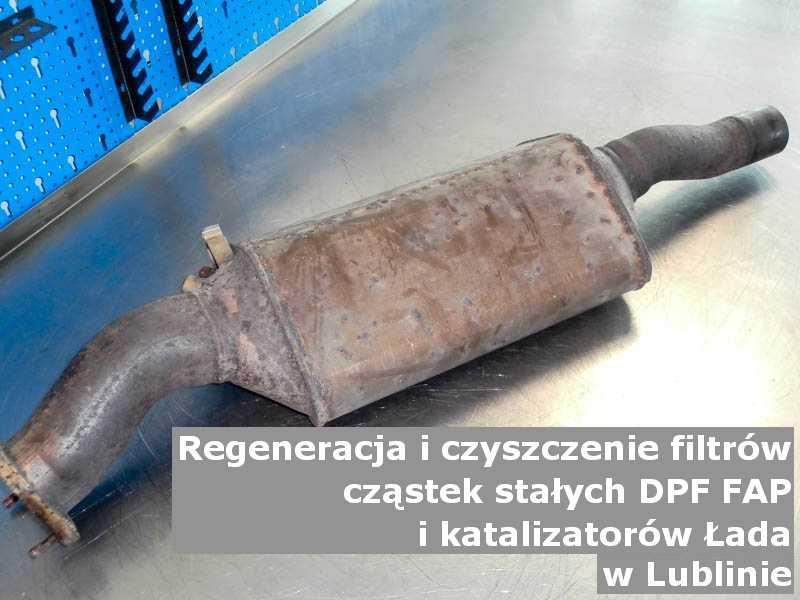 Naprawiony filtr cząstek stałych marki Łada, w warsztacie, w Lublinie.