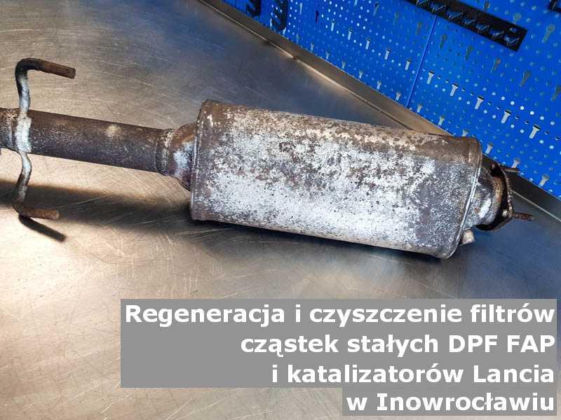 Płukany filtr DPF marki Lancia, w pracowni regeneracji, w Inowrocławiu.