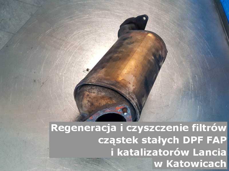 Zregenerowany filtr cząstek stałych FAP marki Lancia, w pracowni, w Katowicach.
