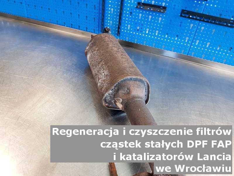 Wyczyszczony filtr DPF marki Lancia, w pracowni, w Wrocławiu.
