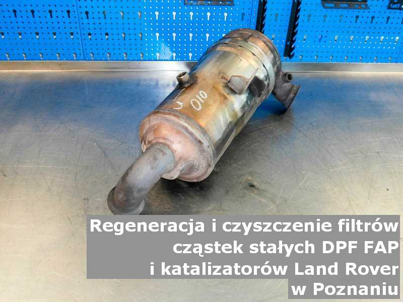 Wyczyszczony filtr marki Land Rover, w warsztatowym laboratorium, w Poznaniu.
