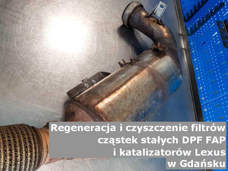 Oczyszczony filtr marki Lexus, w pracowni, w Gdańsku.