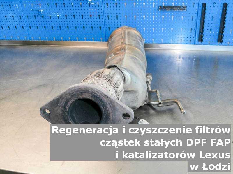 Czyszczony filtr cząstek stałych GPF marki Lexus, w pracowni laboratoryjnej, w Łodzi.