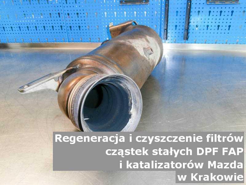 Myty filtr DPF marki Mazda, w warsztatowym laboratorium, w Krakowie.