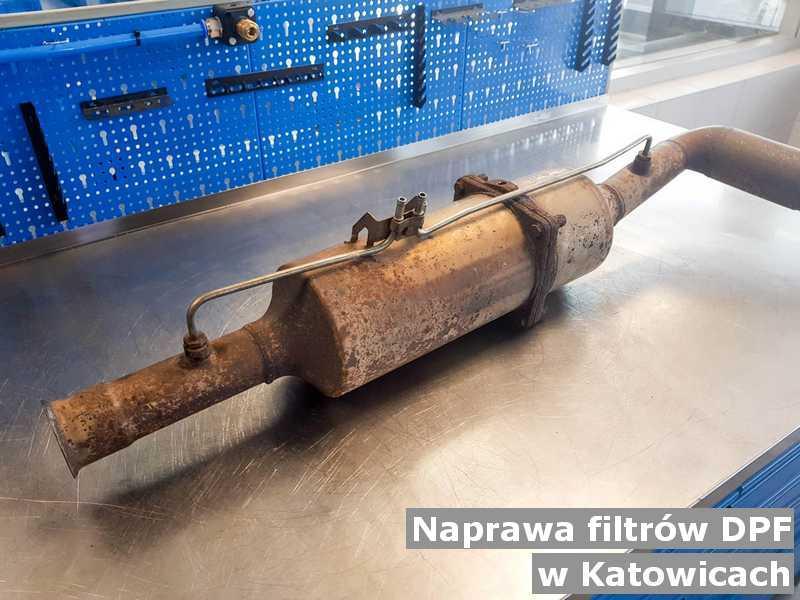 Naprawiany filtr czastek stałych DPF pod Katowicami po oczyszczaniu w warsztatowym laboratorium.