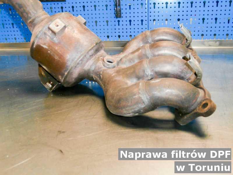 Naprawiony filtr DPF w Toruniu przed wysyłką w warsztacie.