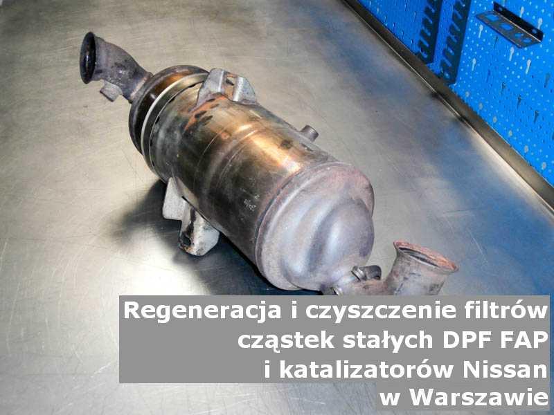 Wyczyszczony katalizator utleniający marki Nissan, w specjalistycznej pracowni, w Warszawie.