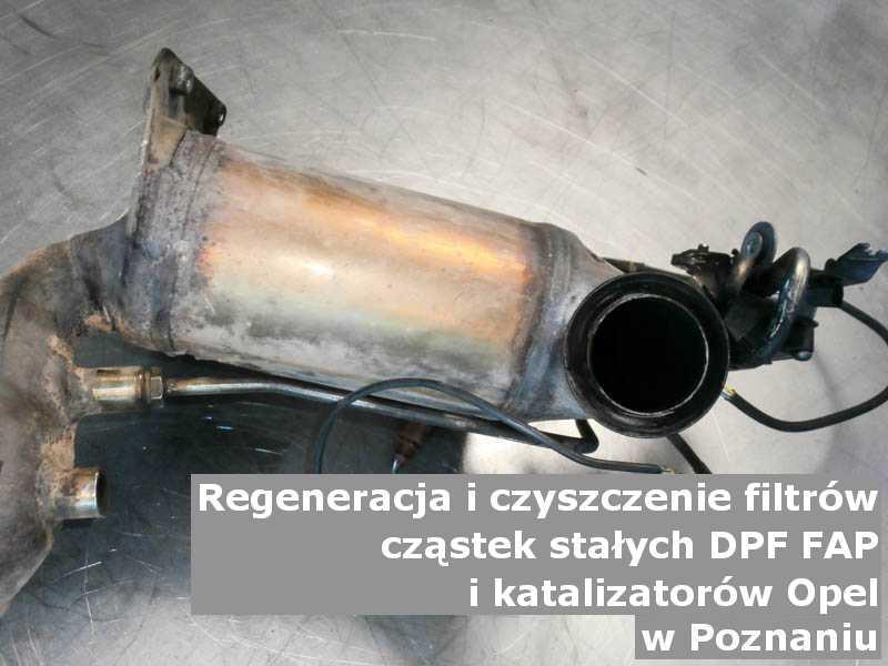 Umyty filtr cząstek stałych DPF/FAP marki Opel, w pracowni regeneracji, w Poznaniu.