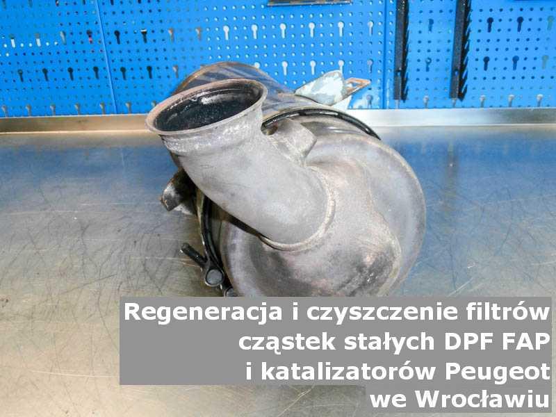 Oczyszczony katalizator SCR marki Peugeot, na stole, w Wrocławiu.