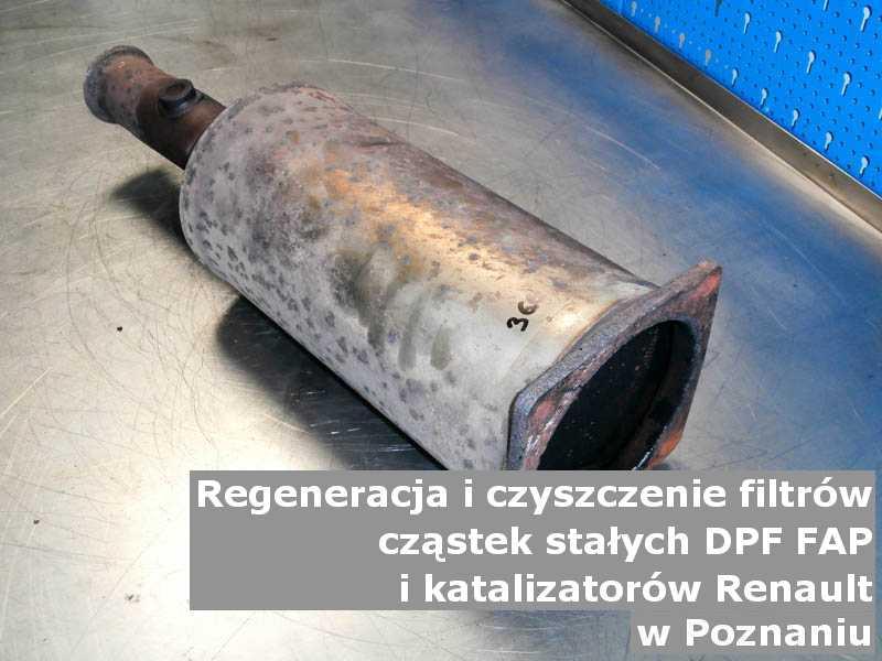 Umyty filtr DPF marki Renault, w pracowni regeneracji, w Poznaniu.
