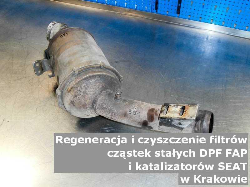 Naprawiony filtr FAP marki SEAT, w warsztacie, w Krakowie.