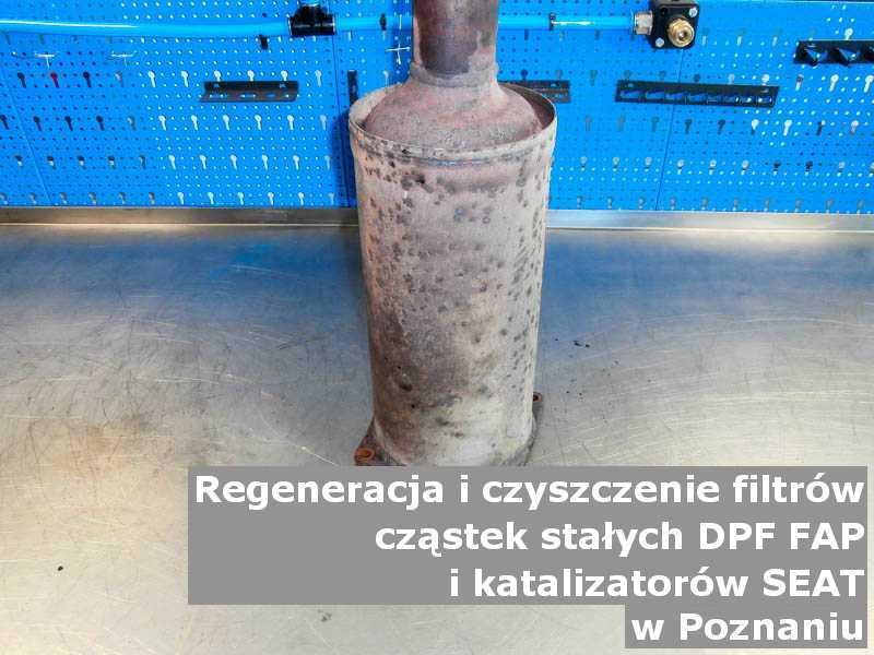 Wypłukany katalizator marki SEAT, na stole, w Poznaniu.