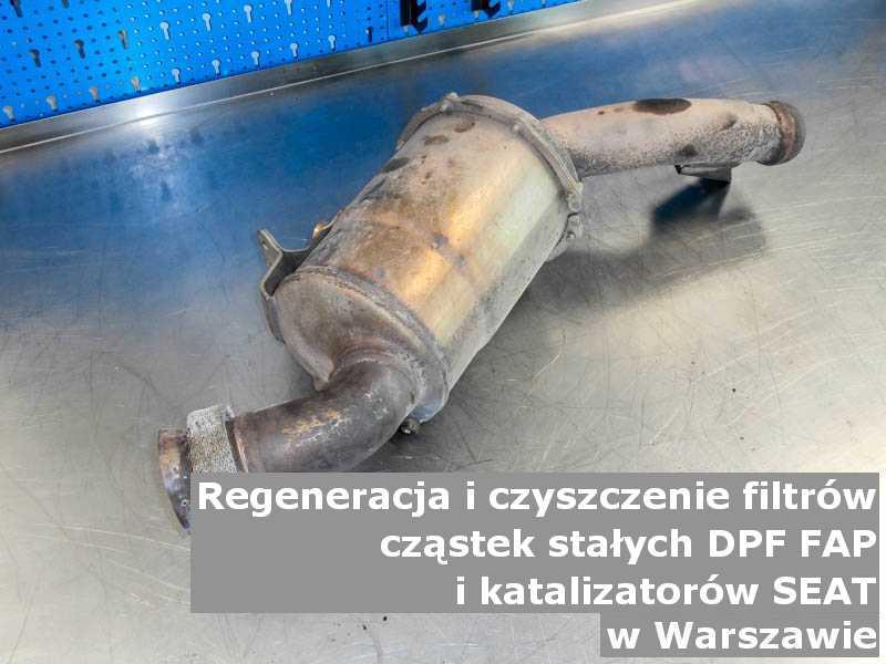 Naprawiony filtr cząstek stałych DPF marki SEAT, w warsztacie, w Warszawie.